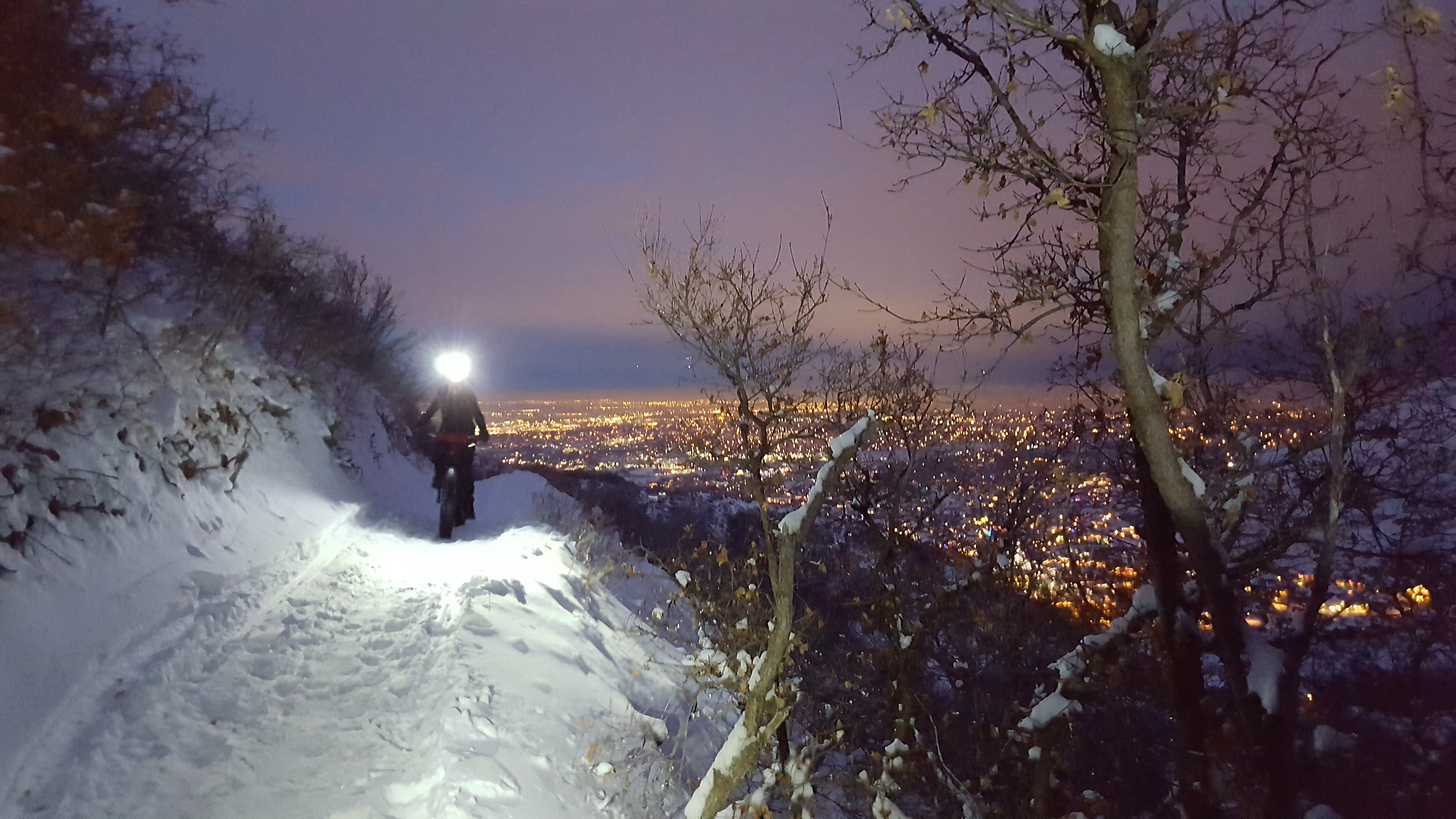 Riding a fat bike in the snow at night